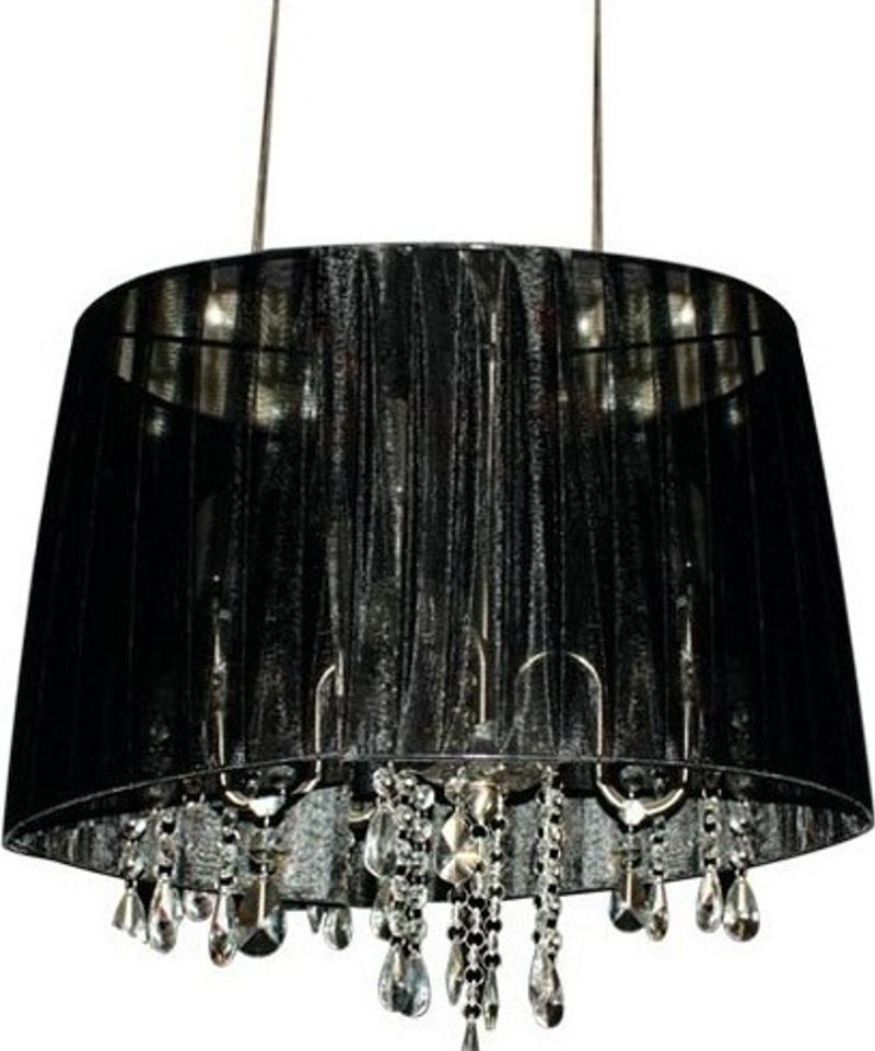 ACA Φωτιστικό Οροφής Τρίφωτο Μεταλλικό/Υφασμάτινο 'Alice' Μαύρο/Χρώμιο E14 40Χ120cm 1P400BK