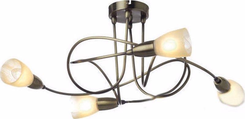 ACA 4Φωτο Φωτιστικό Οροφής Μεταλλικό/Γυάλινο 'Kamet' Μπρονζέ/Λευκό Ε14 62Χ27cm MC542GAB4