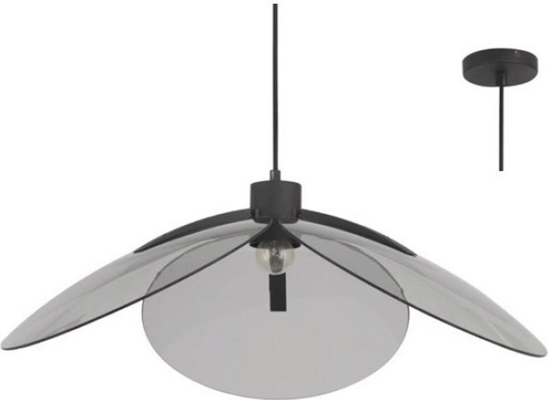 ACA Φωτιστικό Οροφής Μεταλλικό/Γυάλινο 'Blossom' Μαύρο/Φιμέ Ε27 58Χ120cm EF21P158BS