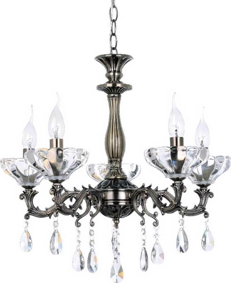 ACA 5Φωτο Φωτιστικό Οροφής Μέταλλο/Κρύσταλλο ' Sarto' Μπρονζέ Ε14 54Χ130cm TNK854535P