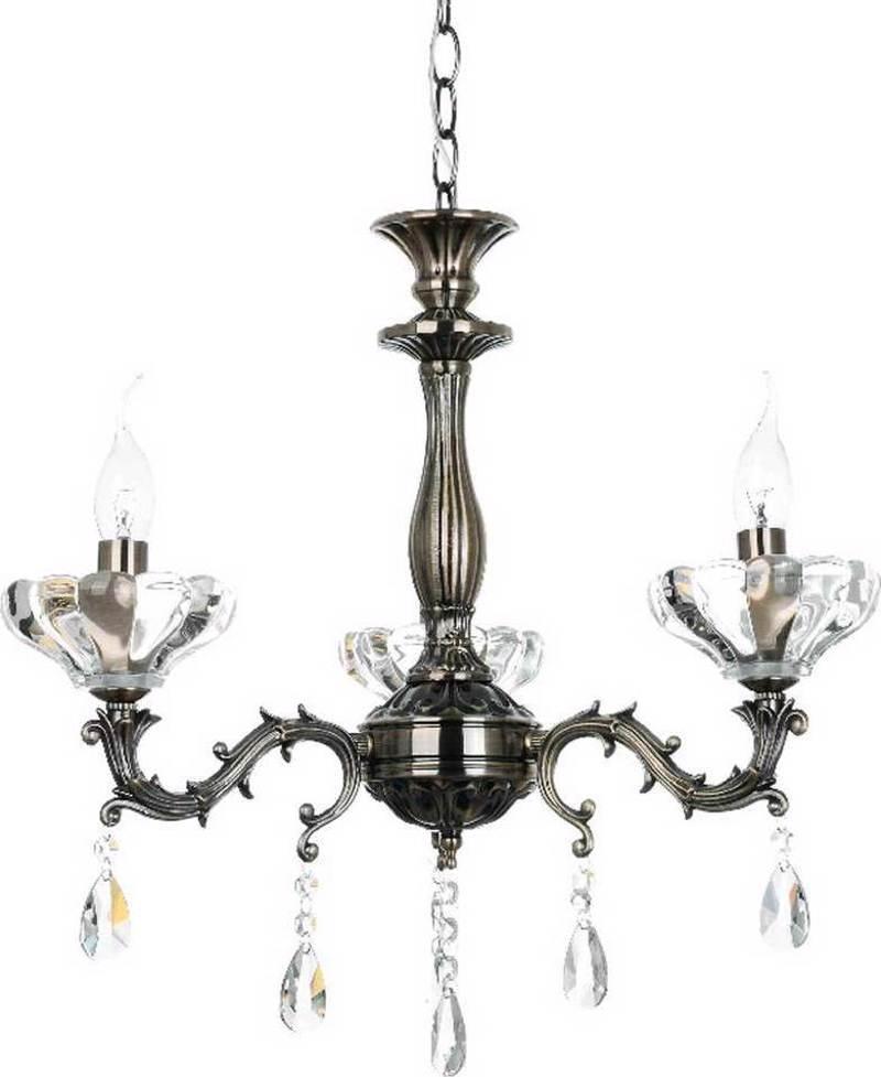 ACA 3Φωτο Φωτιστικό Οροφής Μέταλλο/Κρύσταλλο ' Sarto' Μπρονζέ Ε14 54Χ130cm TNK854533P