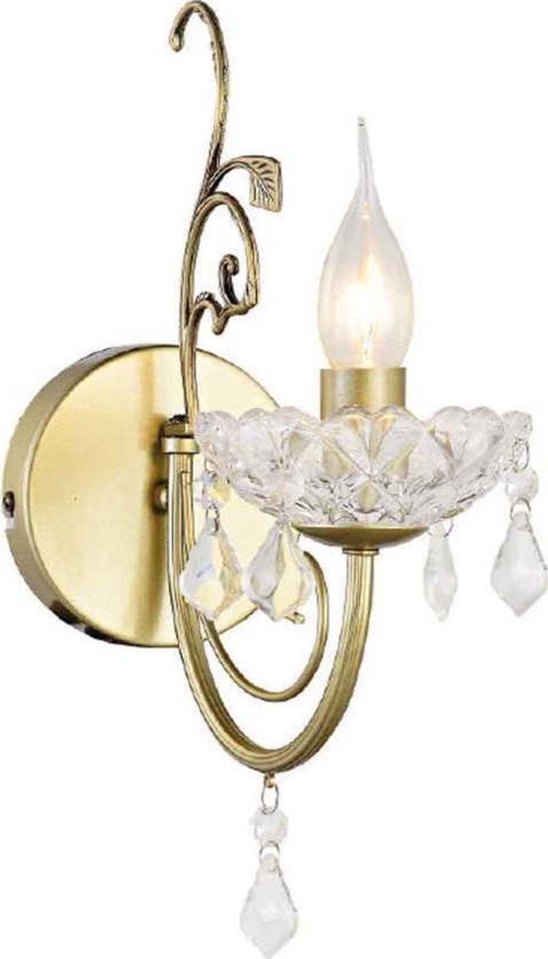 ACA Απλίκα Τοίχου Μέταλλο/Κρύσταλλο ' Faberge' Χρυσό Ε14 27Χ37cm DLA12151W