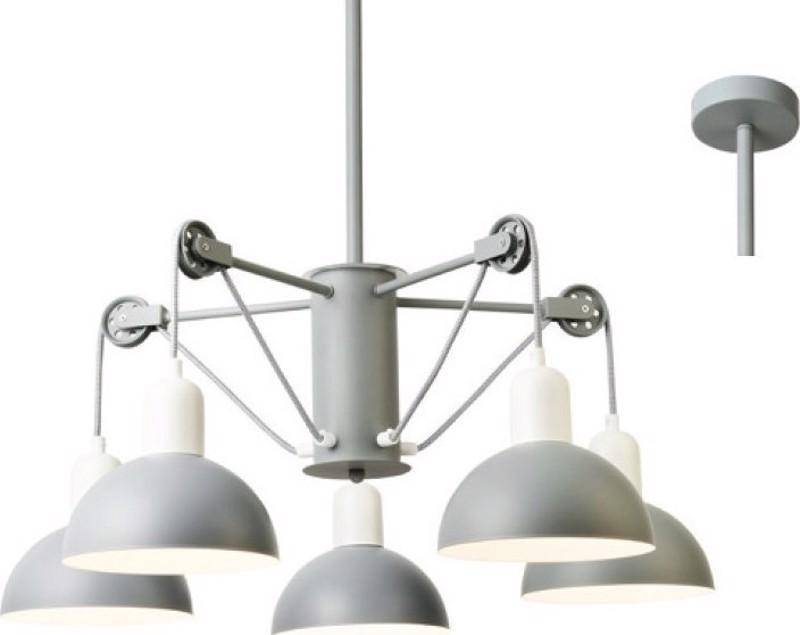 ACA 5Φωτο Φωτιστικό Οροφής Μεταλλικό 'Cezanne' Γκρί/Λευκό Ε14 68Χ85cm EG5795P58G