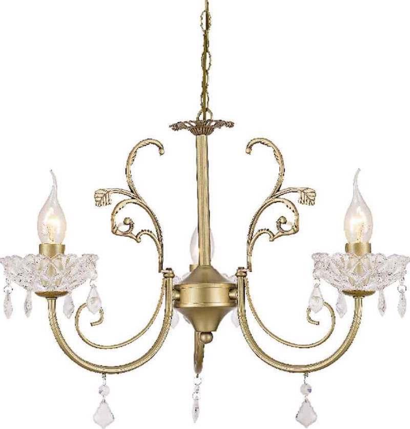 ACA 3Φωτο Φωτιστικό Οροφής Μέταλλο/Κρύσταλλο ' Faberge' Χρυσό Ε14 56Χ96cm DLA12153P