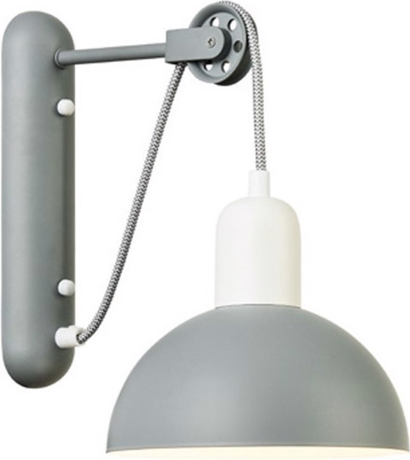 ACA Απλίκα Τοίχου Μεταλλική 'Cezanne' Γκρί/Λευκό Ε14 27Χ32cm EG5791W26G