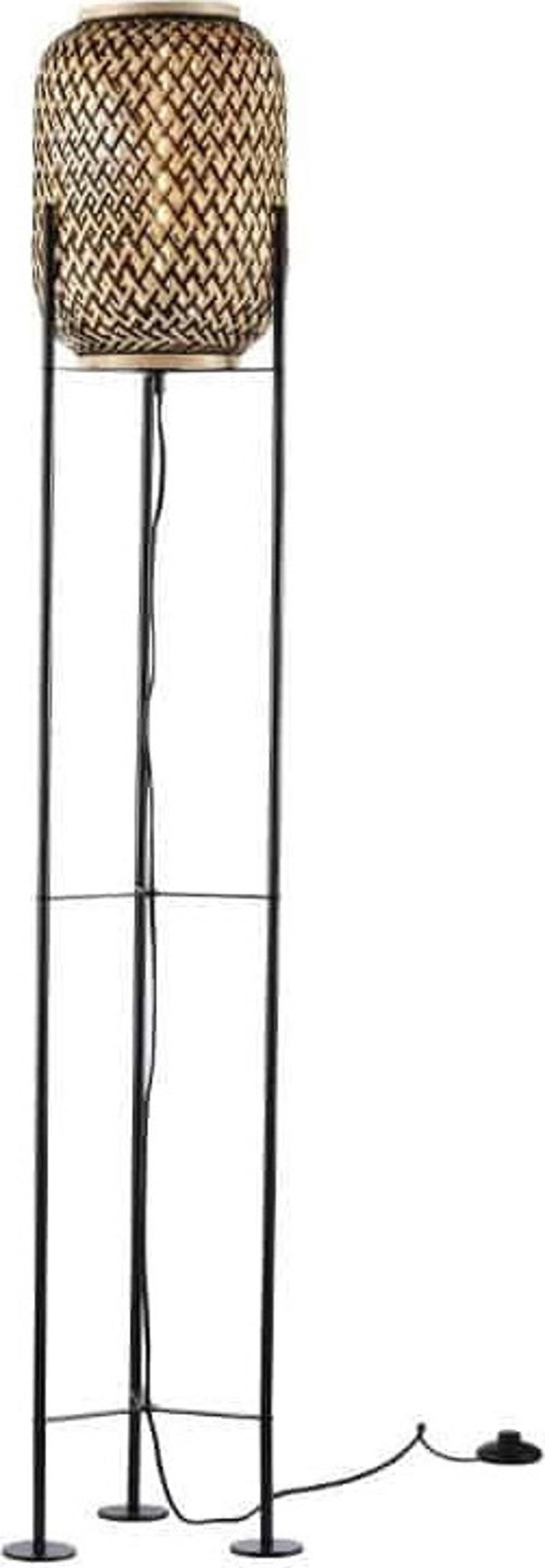 ACA Επιδαπέδιο Φωτιστικό Μεταλλικό/Bamboo 'Sahara' Μαύρο/Φυσικό Ε27 23Χ145cm AR3191F145NB