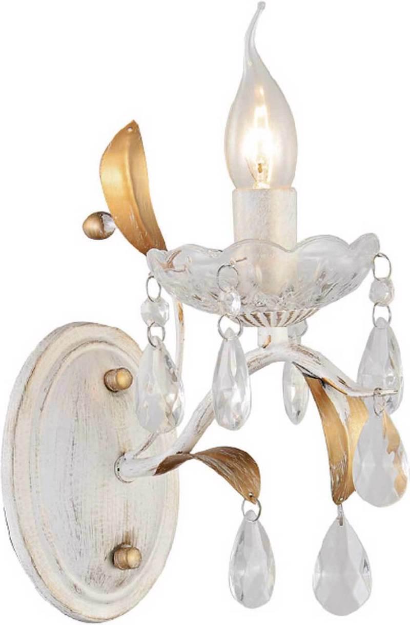 ACA Απλίκα Τοίχου Μέταλλο/Κρύσταλλο 'SARDINIA' Λευκό/Χρυσό Ε14 23,5Χ15,5Χ24,5cm DL9341WWG