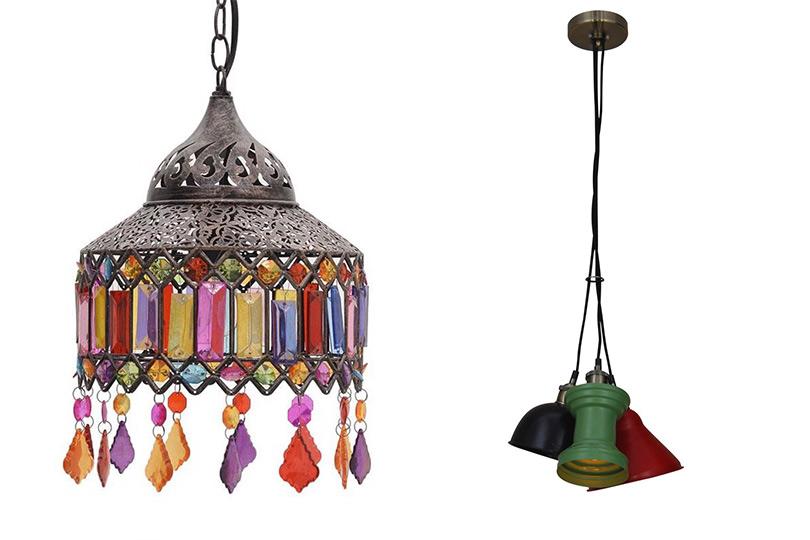 πολύχρωμα φωτιστικά οροφής