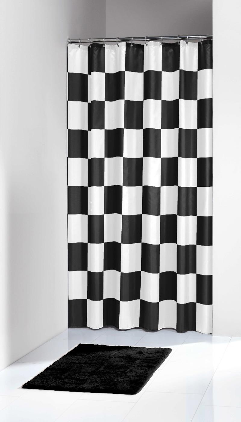 Υφασμάτινη Κουρτίνα Μπάνιου Chess Black 180X200 SealSkin