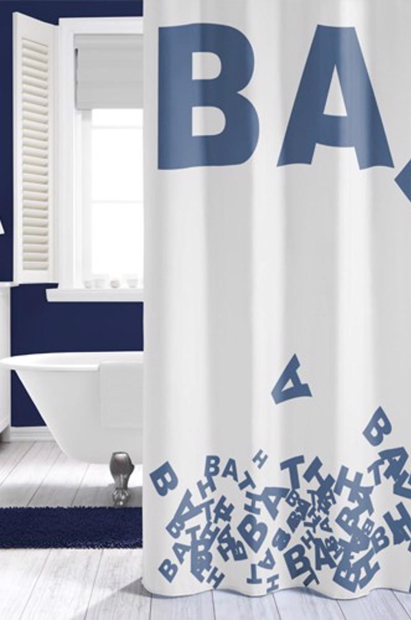 Υφασμάτινη Κουρτίνα μπάνιου sealskin Littera blue 1.80×2.00