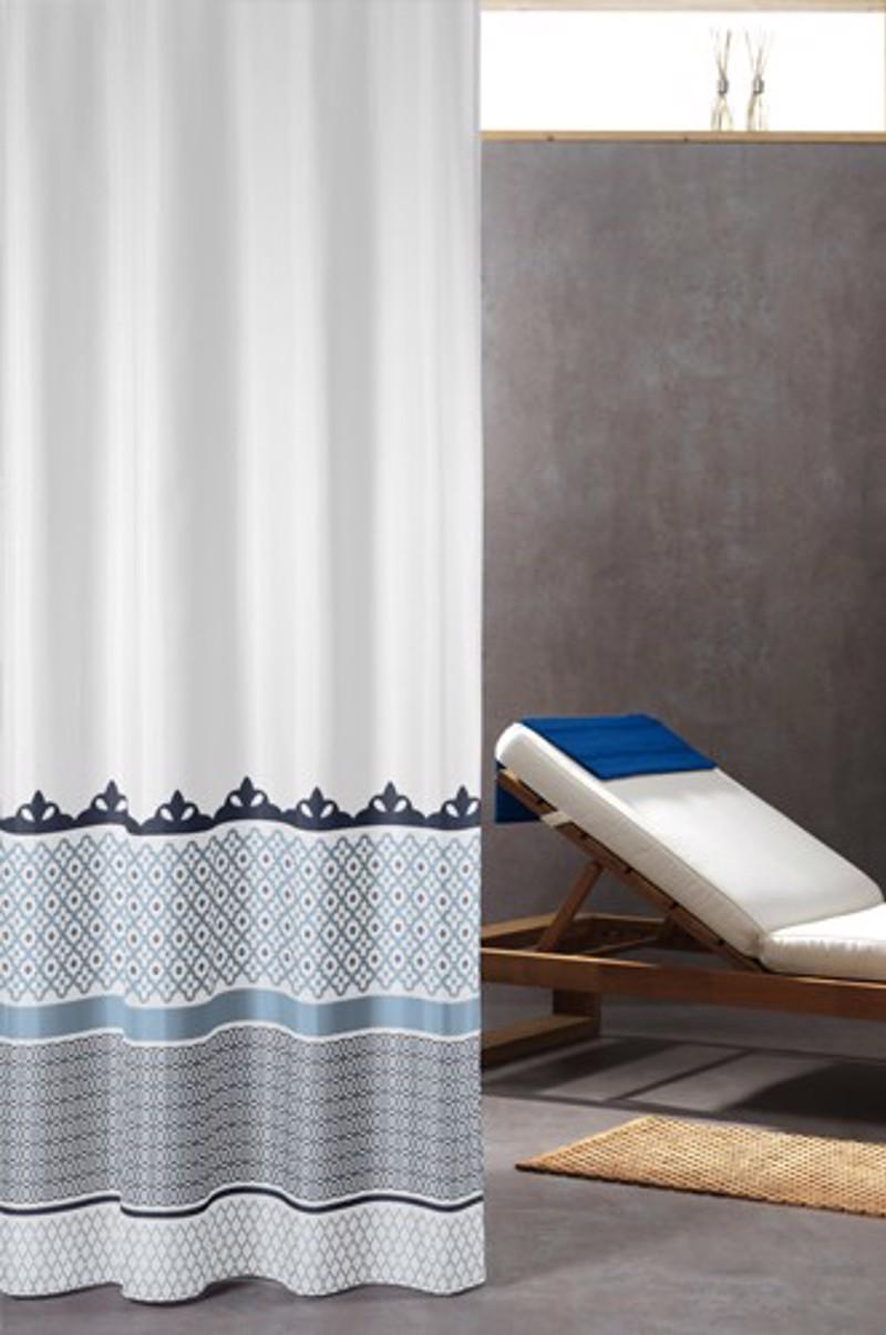 Υφασμάτινη Κουρτίνα μπάνιου sealskin Marrakech blue 1.80×2.00
