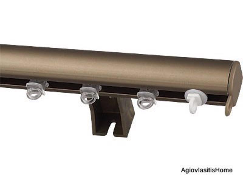 Σιδηρόδρομος κουρτίνας oval μονός bronze
