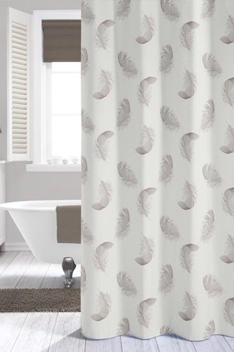 Υφασμάτινη Κουρτίνα μπάνιου sealskin Plumes Taupe 1.80×2.00