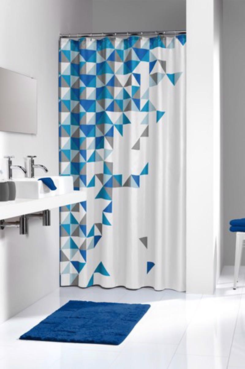 Υφασμάτινη Κουρτίνα μπάνιου sealskin Tangram blue 1.80×2.00