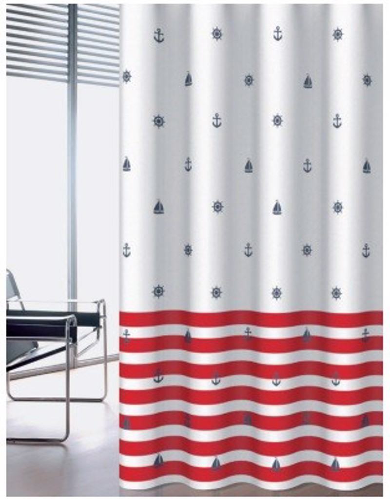 Υφασμάτινη Κουρτίνα Μπάνιου Joy 0010 Navy Κόκκινο 1.80×2.00