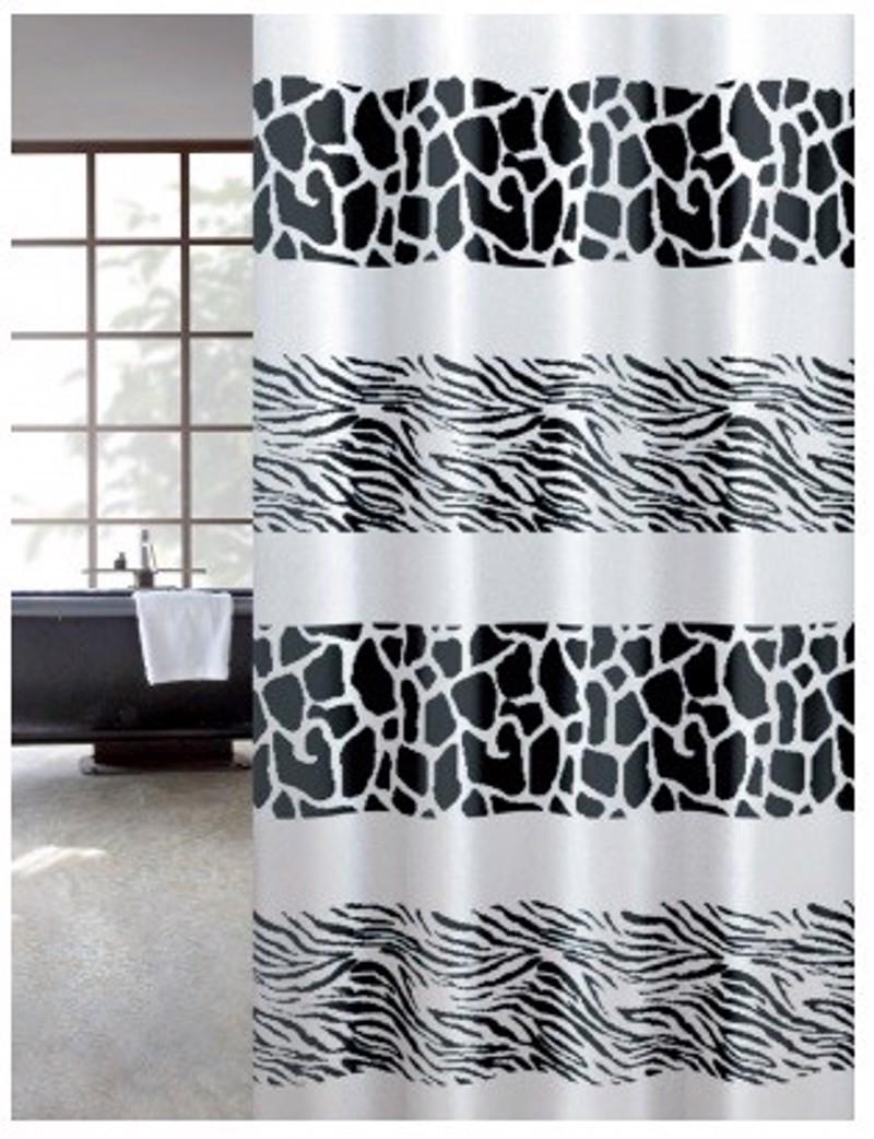 Υφασμάτινη Κουρτίνα Μπάνιου J.0024 Zebra Μαύρο