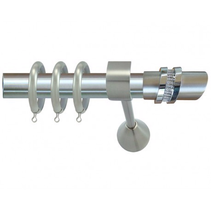 Κουρτινόξυλο φ35 inox m.two rings strass