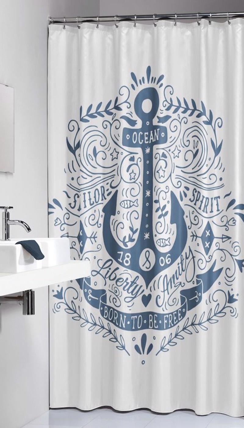 Υφασμάτινη Κουρτίνα Μπάνιου sealskin Anchor Blue 1.80×2.00