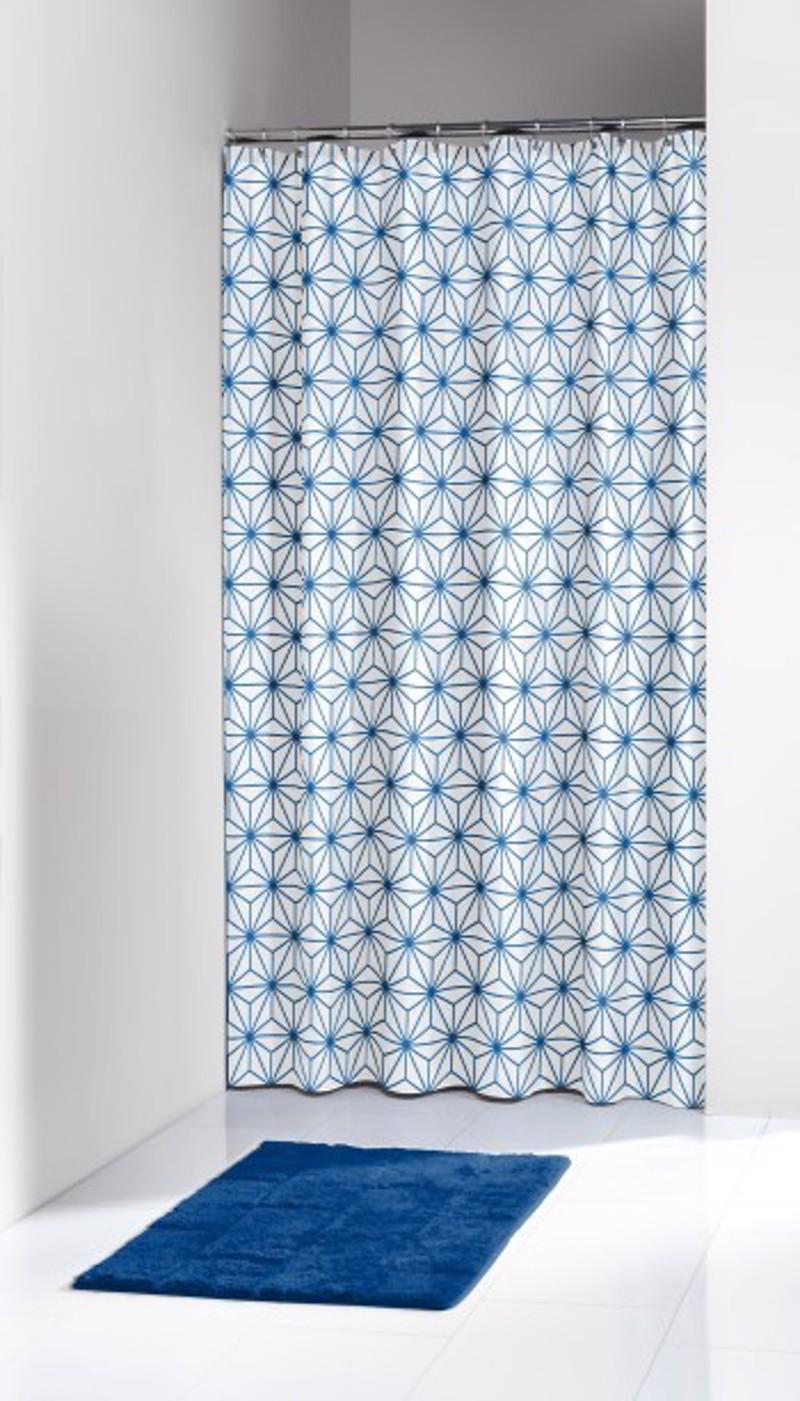 Υφασμάτινη Κουρτίνα Μπάνιου Triangles Blue 1.80×2.00