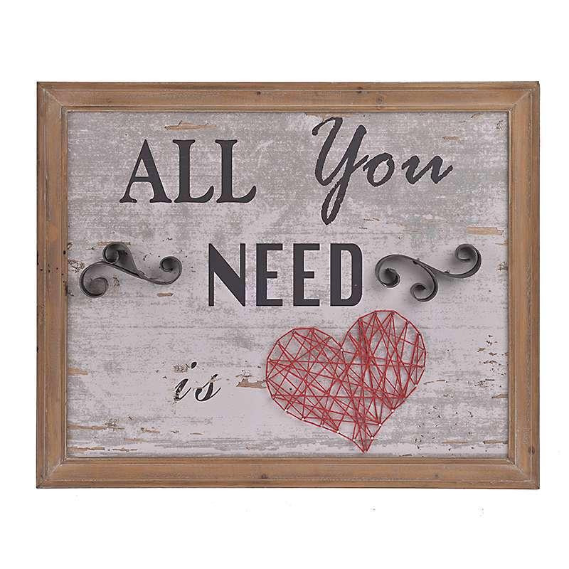 ΠΙΝΑΚΑΣ ΞΥΛΙΝΟΣ ΜΕΤΑΛΛΙΚΟΣ 'ALL YOU NEED' 66X3X54 3-90-812-0019 InArt
